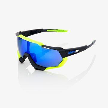 Immagine di Occhiali 100% Speedtrap Polished Black/Matte Neon Yellow-Elettric Blue Mirror