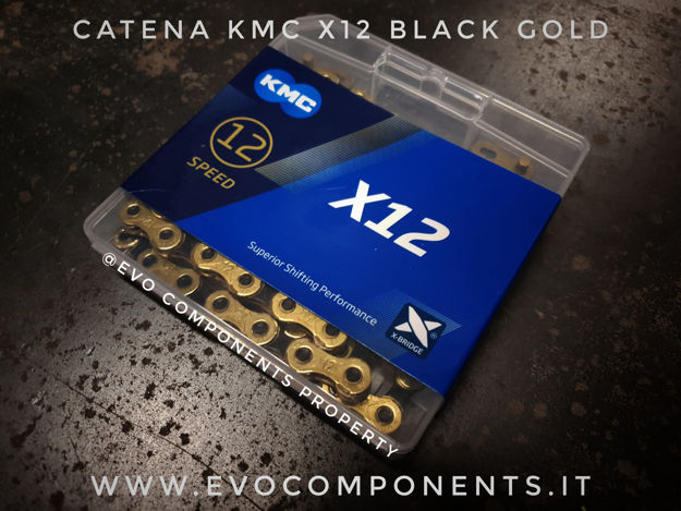 Immagine di Catena KMC X12 Ti-N Nero Oro 12 velocità