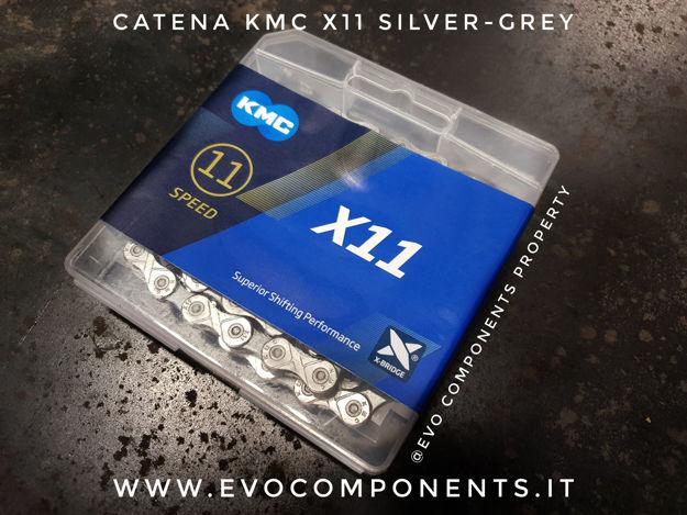 Immagine di KMC X11 Silver Grey 118 maglie catena 11 velocità